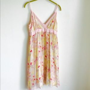 Mona And Holly Pink Sheer Silk Print Dress Size 4